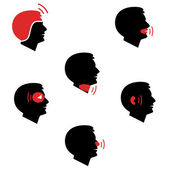 Head and facial pain as flat icons — Stock Vector