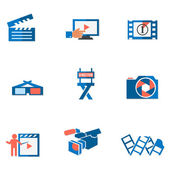 Video and photo tricolor flat icons — Stock Vector