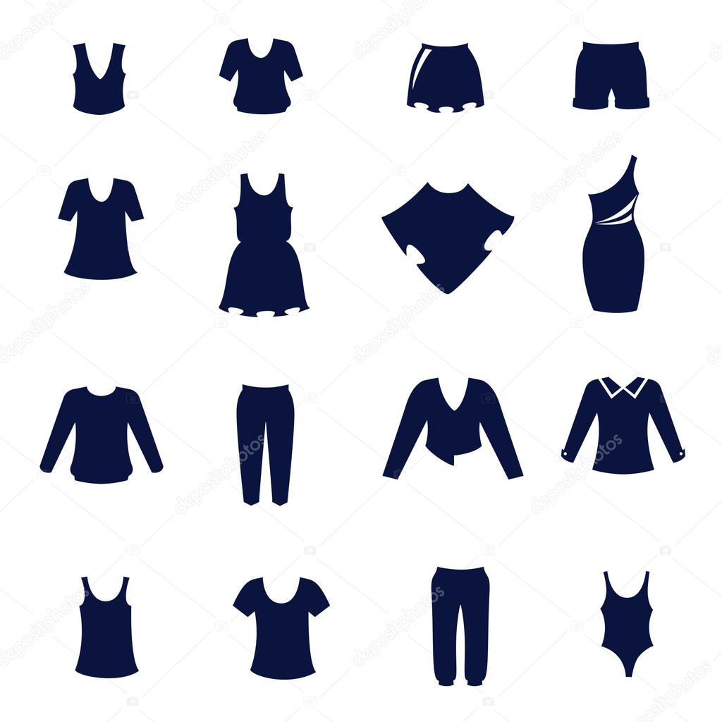 Different types of womens clothing as flat icons — Stock ...