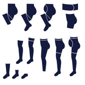 Different types of women's socks, tights and stockings — Vetorial Stock