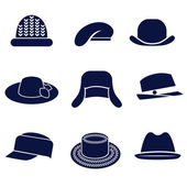 Different types of women's hats — Stock Vector