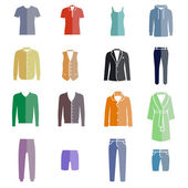 Different types of men's clothes as color icons — Stok Vektör