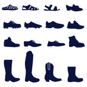 Different types of men's footwear — Stock Vector