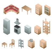 Isometric wooden furniture for kitchen — Stockvector
