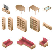 Isometric wooden furniture for living room — Stock Vector