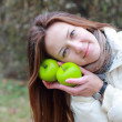 Girl and green apples — Stock Photo