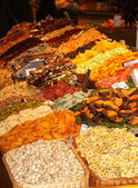 Dry fruits stall in a traditional market — Stock Photo