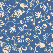 Original floral pattern blue and beige background — Stockvectorbeeld