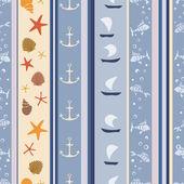 Abstrakcyjny wzór geometryczny bezszwowe z muszli, łodzie i ryby — Wektor stockowy