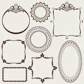 Collection of decorative vintage frames — Stock Vector