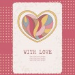 Decorative postcard with colorful heart on pink dotted backdrop — Stock Vector
