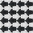 Seamless pattern with black and wight geometric fishes floating in a staggered — Stock Vector