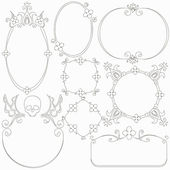 Collection of decorative hand drawn frames — Stock Vector
