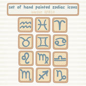 Set of hand drown zodiac icons — Stock Vector