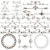 Colección de marcos florales y góticos, fronteras y elementos — Vector de stock