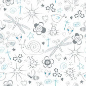 Seamless pattern with simple summer items — Vector de stock
