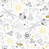 Seamless pattern with simple summer items — Cтоковый вектор