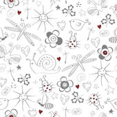 Seamless pattern with simple summer items — Stok Vektör