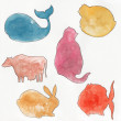Watercolor silhouettes of animals — Stock Photo #50714043