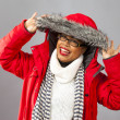 Royalty-Free Stock Photo: With Red Parka and Striped Scarf