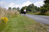 Jogging with the dog — Stock Photo