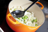 Onion in a stew pan — Stock Photo