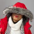 With Red Parka and Striped Scarf — Stock Photo