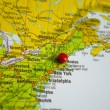 The city of Boston marked on the map of the Usa east coast — Stock Photo