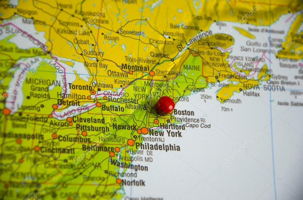 The city of Boston marked on the map of the Usa east coast – Map Usa East