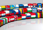 European flags on a cube shape — Stock Photo