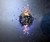 Mundo en explosión después de ser golpeado por un asteroide — Foto de Stock