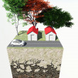 Cross-section of land with street trees home car — Stock Photo