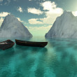 Boats sea and mountains — Stockfoto