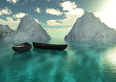 Boats sea and mountains — Stock Photo