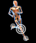 Running man seen by x-ray with pain in the leg — Stock Photo