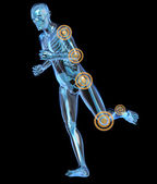 Side view of a running man seen by x-ray with pain in the leg and arm — Stock Photo