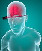 Google glasses interactive brain anatomy — Stock Photo