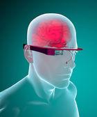 Google glasses interactive brain anatomy — Stock Photo