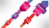 Infographie exemples bandes colorées flèches papier post-it — Vecteur