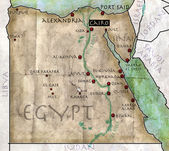 Map of Egypt, antique effect, parchment — Stock Photo