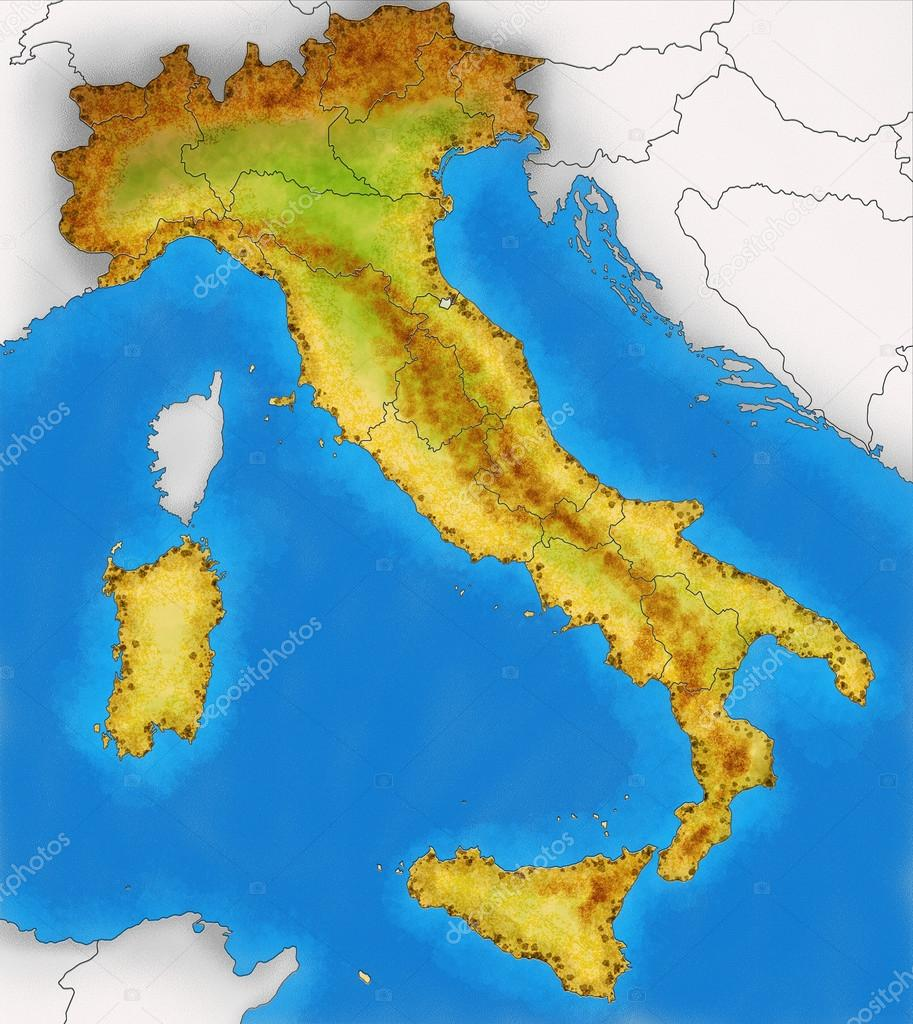 physische karte italien