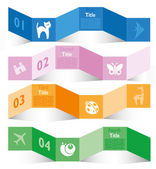 Colorful ribbon with animals and origami paper style — Stock Vector