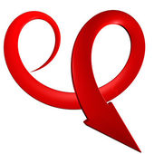 Red spiral arrow 3D. — Stock Photo