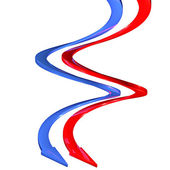Blue arrows and red 3d spiral curves — Stock Photo