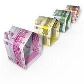 Maisons en euro monnaie de papier — Photo