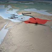 Bliski wschód widziany z kosmosu. mapa syrii — Zdjęcie stockowe