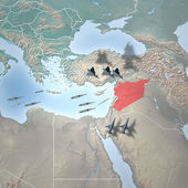 Orta doğu gibi uzaydan. suriye haritası — Stok fotoğraf