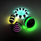 Oggetti di design energia luminosa al neon — Foto Stock
