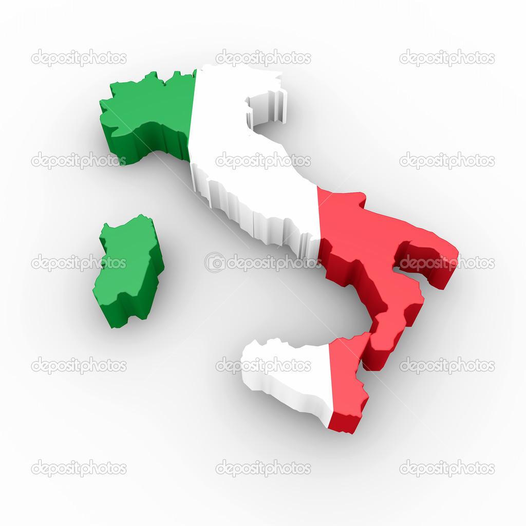Carte de litalie dans les couleurs du drapeau italien for Dans italien