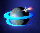 Rocket around earth — Stock Photo